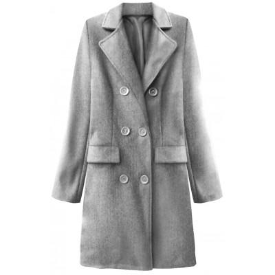 Dámsky dvojradový jarný kabát svetlošedý (22791)