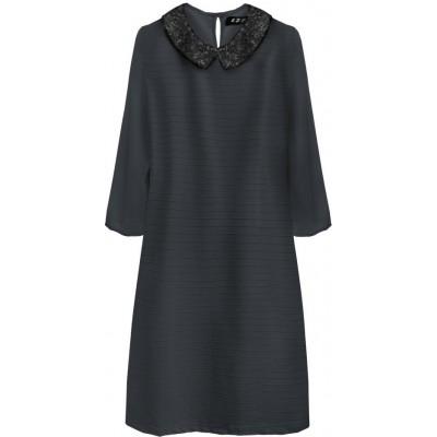 Dámske šaty z golierom tmavomodré (6107)