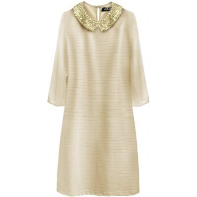 Dámske šaty z golierom béžové (6107)