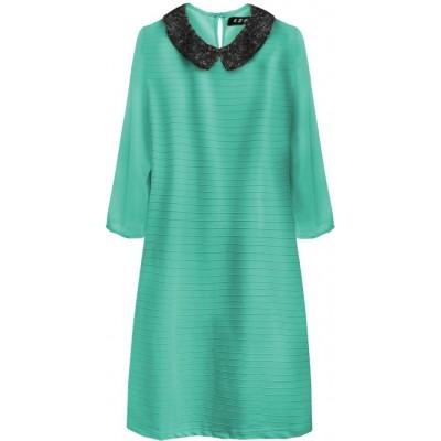 Dámske šaty z golierom zelené (6107)