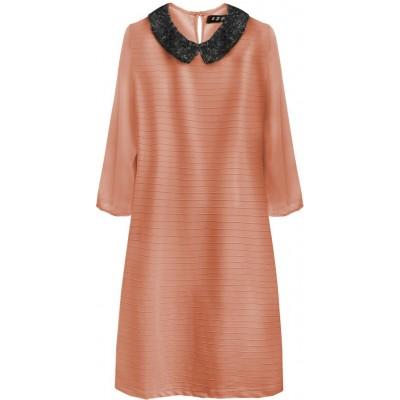 Dámske šaty z golierom broskyňové (6107)