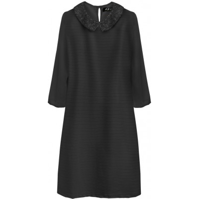 Dámske šaty z golierom čierne (6107)