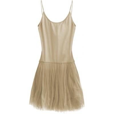 Dámske šaty z tylom cappuccino (2238)