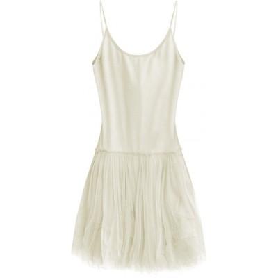 Dámske šaty z tylom ecru (2238)