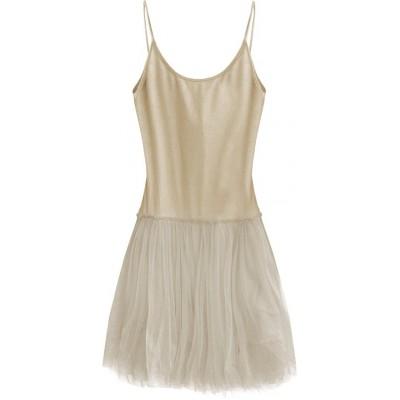 Dámske šaty z tylom cappuccino (2238/1)