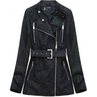 Dámska koženková bunda s opaskom čierna (5125)