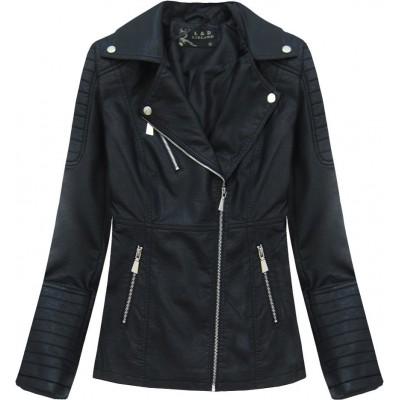 Dámska koženková bunda čierna (5248)