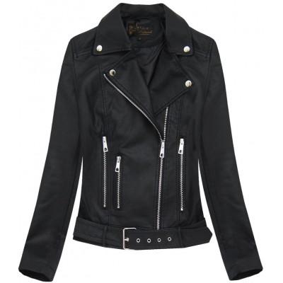 Dámska koženková bunda čierna (5391)