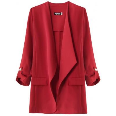 Dámsky kabátik s 3/4 rukávmi červený 2 (268ART)