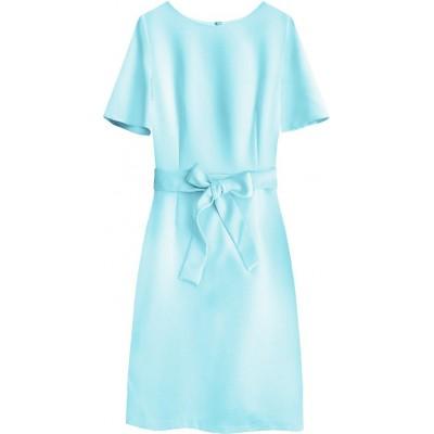 Dámske šaty s opaskom modré (313ART)
