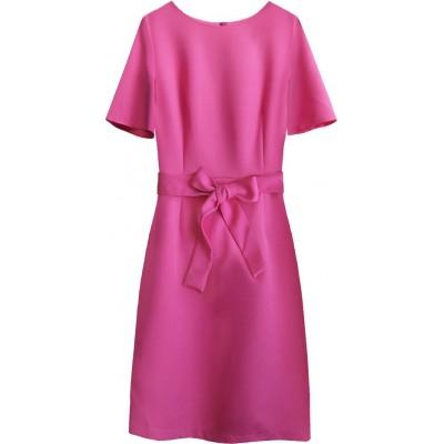 Dámske šaty s opaskom cyklámenové (313ART)