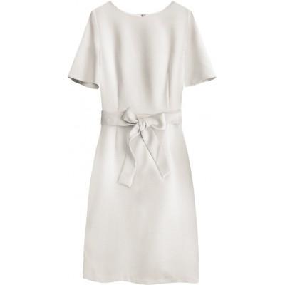 Dámske šaty s opaskom béžové (313ART)
