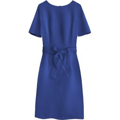 Dámske šaty s opaskom tmavomodré (313ART)