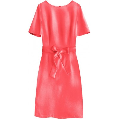 Dámske šaty s opaskom koralové (313ART)