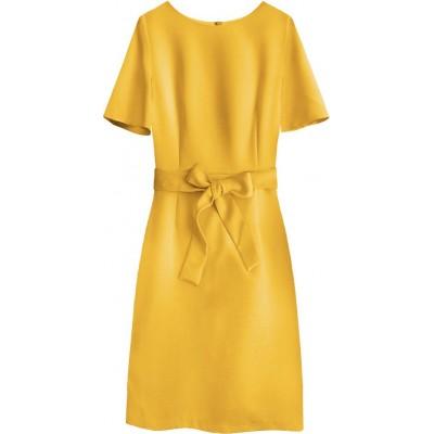 Dámske šaty s opaskom žlté (313ART)