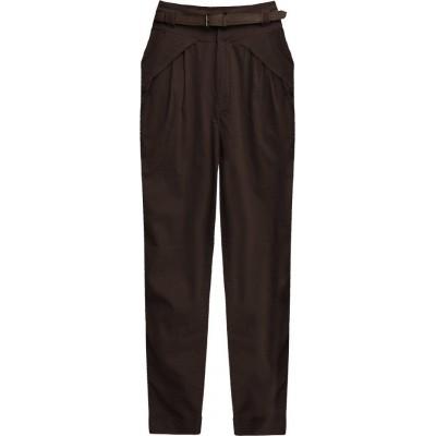 Dámske elegantné nohavice tmavohnedé (2218)