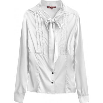 Dámska saténová košeľa s viazaním biela (X1066X)