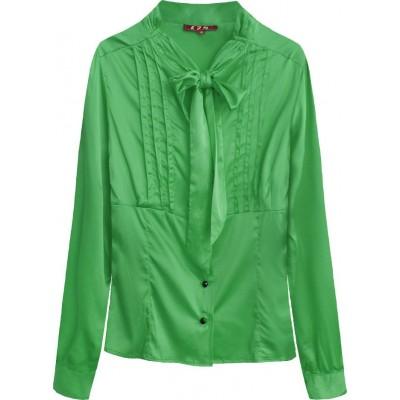 Dámska saténová košeľa s viazaním zelená  (X1066X)