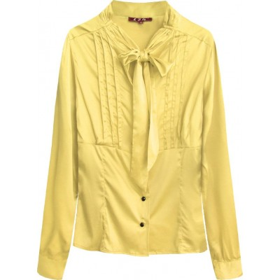 Dámska saténová košeľa s viazaním žltá (X1066X)