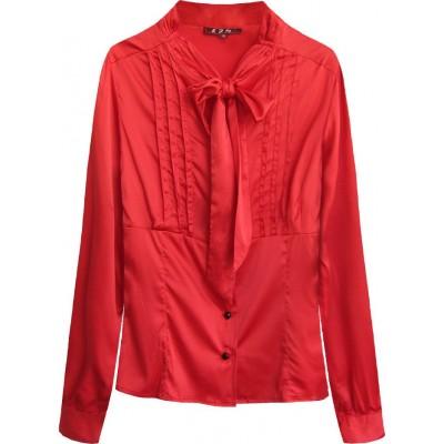 Dámska saténová košeľa s viazaním červená (X1066X)