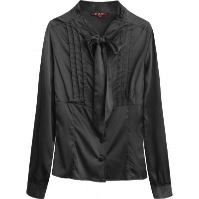 Dámska saténová košeľa s viazaním čierna (X1066X)