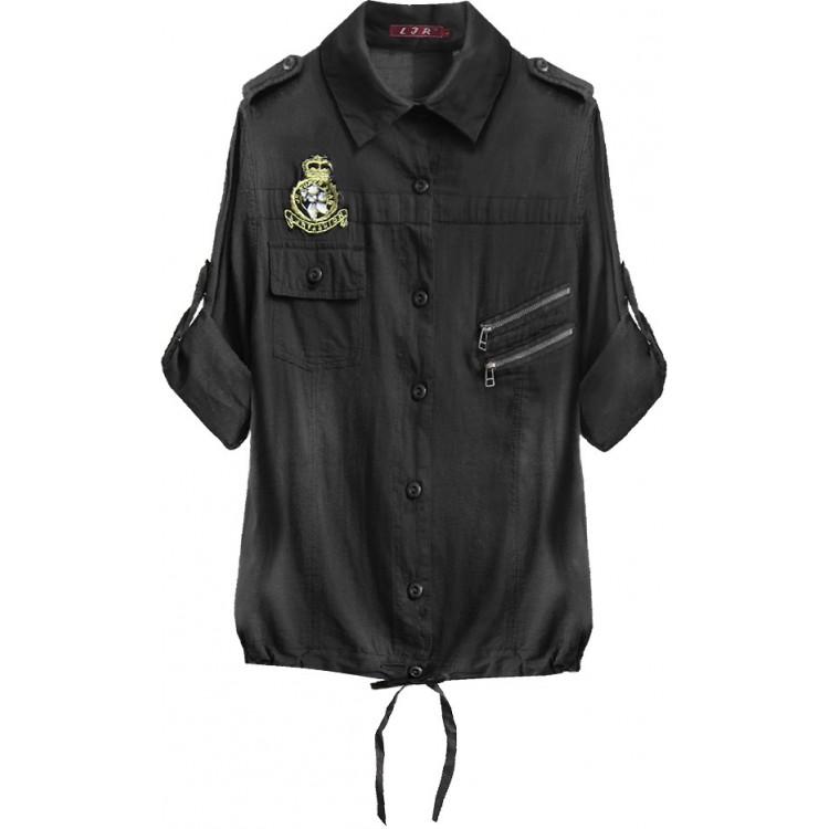 Bavlnená dámska košeľa čierna (1010)