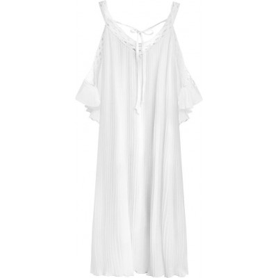 Dámske plisované šaty biele (342ART)