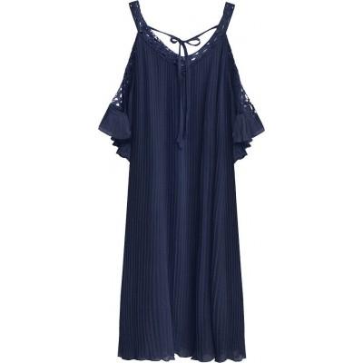 Dámske plisované šaty tmavomodré (342ART)