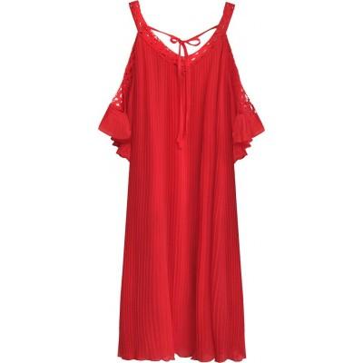 Dámske plisované šaty červené (342ART)