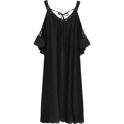 Dámske plisované šaty čierne (342ART)