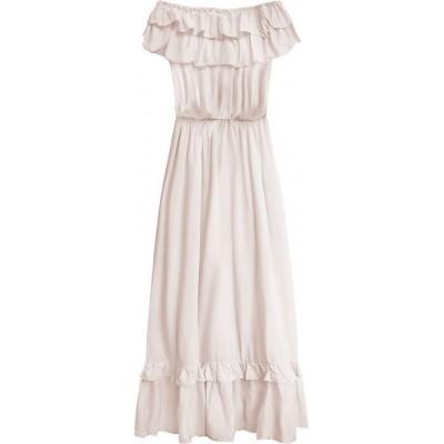 Dámske dlhé šaty béžové (344ART)