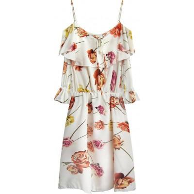 Dámske šaty s kvetmi krémové (356ART)