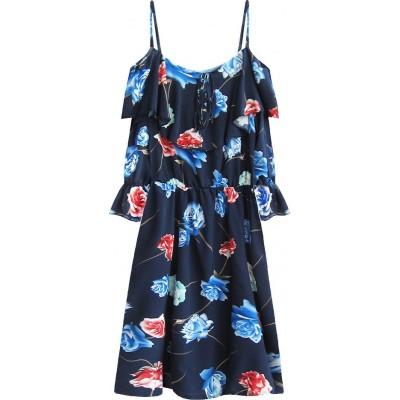 Dámske šaty s kvetmi tmavomodré (356ART)