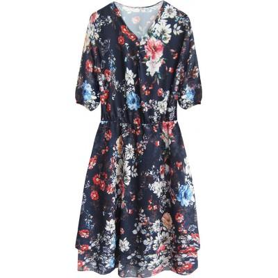 Dámske šifónové šaty tmavomodré (352ART)
