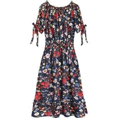 Dámske šaty s kvetmi tmavomodré (351ART)