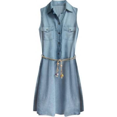 Dámske jeansové šaty s opaskom svetlomodré (400ART)
