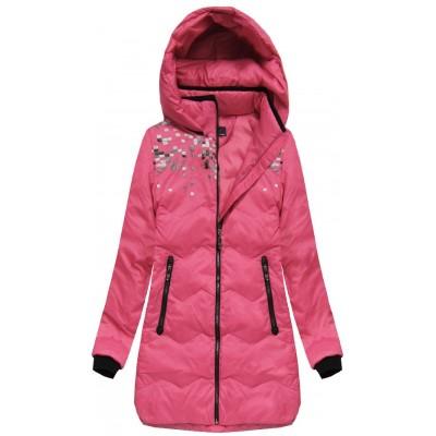 Dámska zimná bunda s kapucňou ružová (6005B)