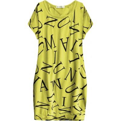 Dámske bavlnené  šaty oversize citrónové (408ART)