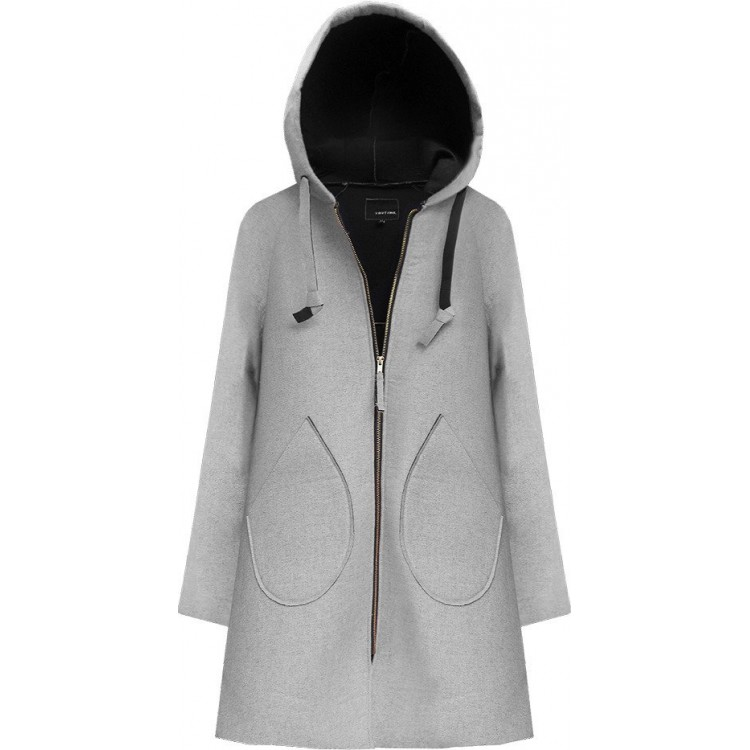 Neoprénový dámsky kabát šedý (015LJ)
