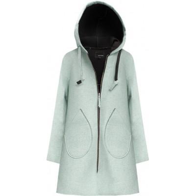 Neoprénový dámsky kabát mätový (015LJ)