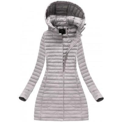 Dlhá dámska prechodná bunda šedofialová  (7222)