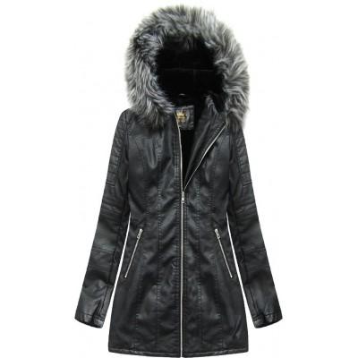Dámska koženková zimná bunda čierna (5525)
