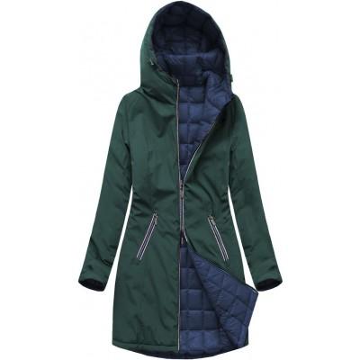 Dámska obojstranná prechodná bunda zeleno-modrá (7700)