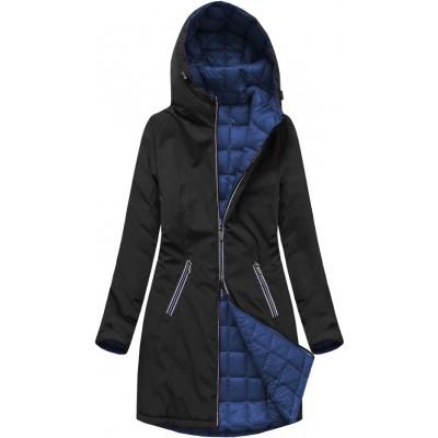 Dámska obojstranná prechodná bunda čierno-modrá (7700)