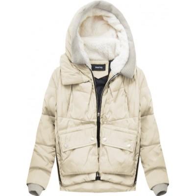 Krátka zimná bunda s kapucňou béžová (C715)