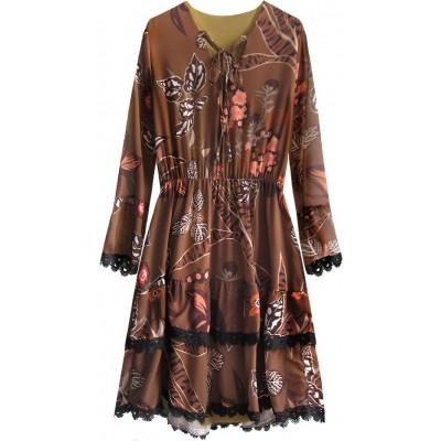 Dámske šifonové šaty hnedé (452ART