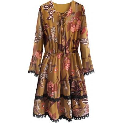 Dámske šifonové šaty horčicové  (452ART