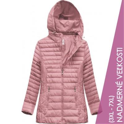Prešívaná dámska prechodná bunda ružová (XW262BIGX)