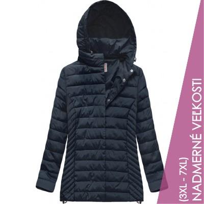 Prešívaná dámska prechodná bunda tmavomodrá (W260BIG)