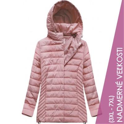 Prešívaná dámska prechodná bunda ružová (W260BIG)